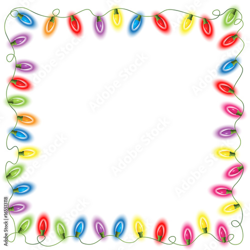 Quot Fairy Lights Border On White Quot Stock Photo And Royalty