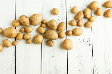 frische junge kleine und große Kartoffeln ernte Welle Wellen Hintergrund Textfreiraum Band Banner