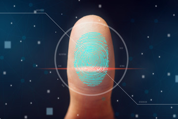 The scanning of the fingerprint. High technologies of information protection and biometric identification.