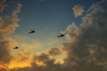 helicopters flying on a background of sunset sky. Three helicopters in the sky