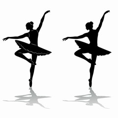 silhouette of ballerina, vector draw