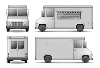 Food Truck Vector Template For Car Advertising. Service Delivery Van Isolated On White. Silver Delivery Truck from side, front, back View. Easy to edit and recolor.