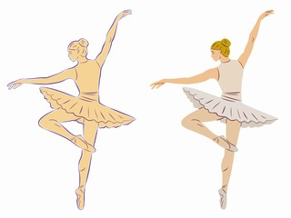 illustration of ballerina, vector draw