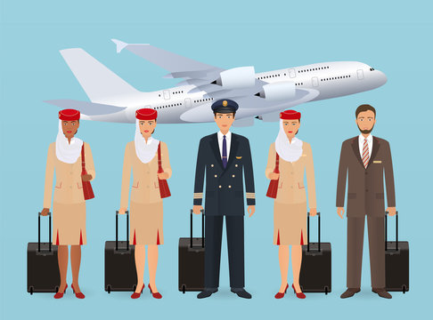 Muslim pilot and stewardesses characters in uniform standing on flying aircraft background. Aviation employee concept.