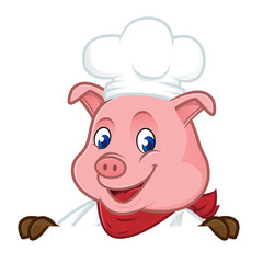 Chef pig cartoon mascot holding blank sign