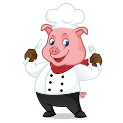 Chef pig cartoon mascot holding fork and knife