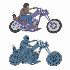 illustration of rider on motorbike , vector drawing