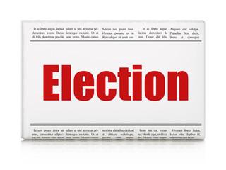 Political concept: newspaper headline Election