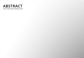 Abstract background striped curve line pattern black and white with copy space, vector Wall mural