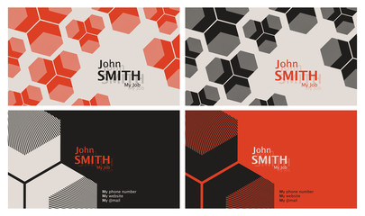 50s style business card template set in orange and black