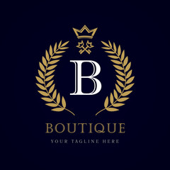 "Luxury boutique crown key letter ""B"" monogram logo. Laurel elegant beautiful round logo with crown and key. Vector letter emblem sign B for Royalty, Restaurant, Boutique, Hotel, Heraldic, Jewelry"