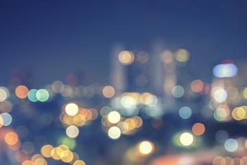 Abstract urban night light bokeh defocused background