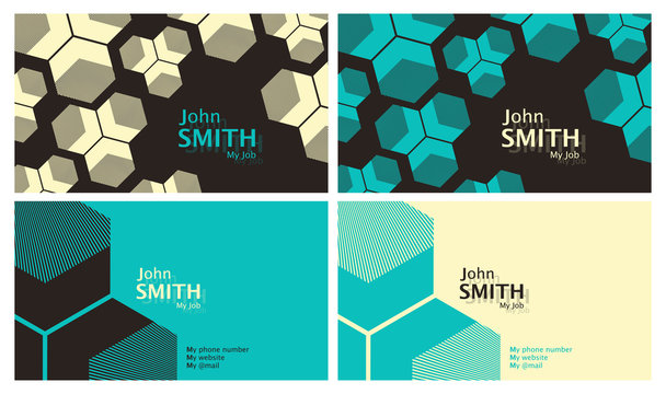 50s style business card template set in brown and blue