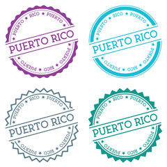 Puerto rico badge isolated on white background. Flat style round label with text. Circular emblem vector illustration.