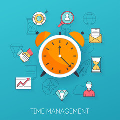 Time management. Planning, time organization of working day. Flat design modern vector illustration concept.