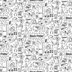 Black Friday household doodle seamless pattern
