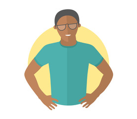 Resolute handsome black man in glasses. Flat design icon. Decisive boy with arms akimbo. Simply editable isolated vector illustration