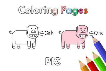 Cartoon Pig Coloring Book