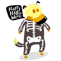 Halloween dog character in skeleton costume with skull and bones. Happy Halloween lettering