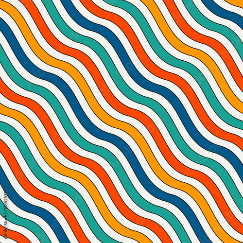 Bright Colors Diagonal Wavy Stripes Seamless Pattern Vivid