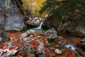 Yew waterfall in Grand Crimean canyon, Crimea