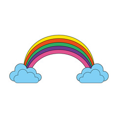 color rainbow with clouds cartoon