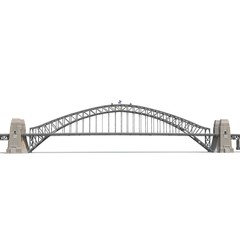 Poster Pont Sydney Harbour Bridge on white. Side view. 3D illustration