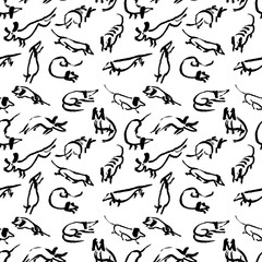 Seamless pattern with doodle dachshund. Background with sketchy dogs.