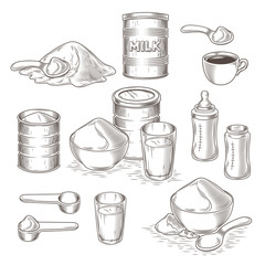 Vector set of engraving illustration of milk powder in an aluminum can and poured into a bowl, a glass with prepared instant milk, baby bottle and the addition of milk powder into a cup of tea, coffee