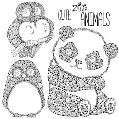 Set of Cute animals: panda, penguin, owl. Adult antistress coloring book page. Black and white. Zentangle style. Doodle design elements - vector