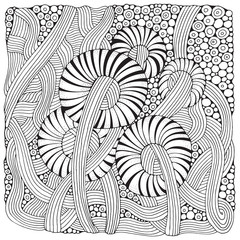 Pattern for coloring book. Ethnic, floral, retro, doodle, vector design elements. Black and white background.