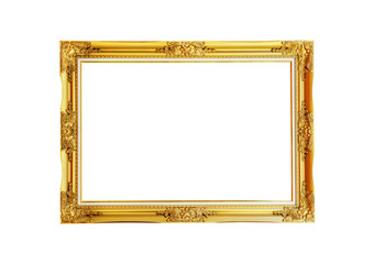 Gold picture frame isolated on white background., This has clipping path.