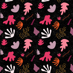 Modern vector seamless pattern with abstract organic and floral shapes.