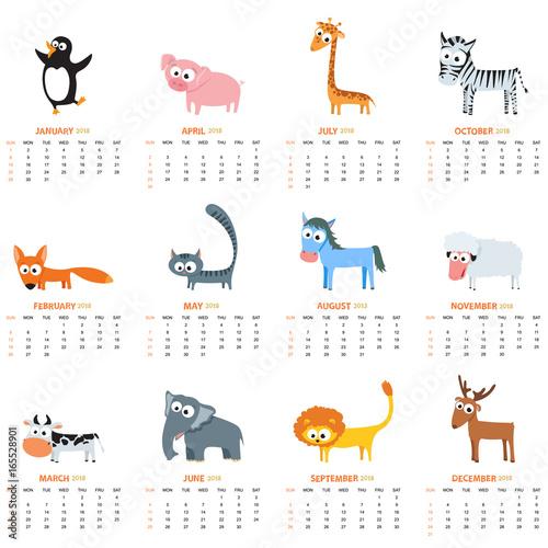 Monthly Calendar 2018 With Cute Animals Stockfotos Und Lizenzfreie