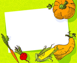 Fall season banner. Autumn frame with crop vegetables