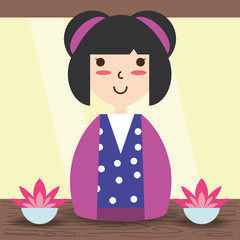 beauty woman with kimono and hairstyle design
