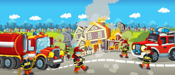 Cartoon happy and funny city scene for different usage - illustration for children