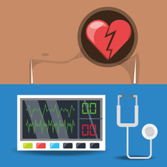 set chest pain and electrocardigraphy machine