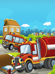 Cartoon stage with different machines for firefighting - cars colorful and cheerful scene / illustration for children