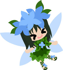 The illustration of blue flowers and a cute fairy