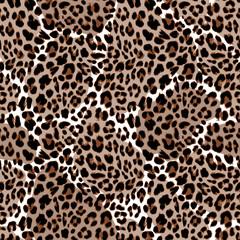 Leopard or jaguar seamless pattern. Modern animal fur design. Vector illustration background