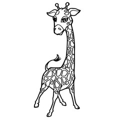cartoon cute giraffe coloring page vector illustration