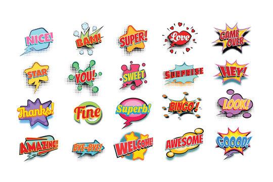 comic book words set