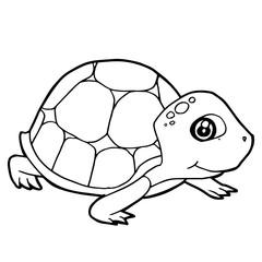 cartoon cute turtle coloring page vector illustration