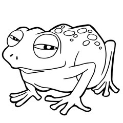 cartoon cute frog coloring page vector illustration