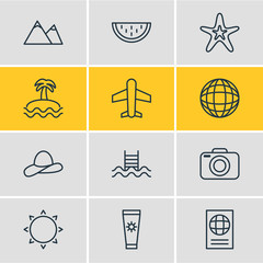 Vector Illustration Of 12 Summer Icons. Editable Pack Of Certificate, Hill, Melon And Other Elements.