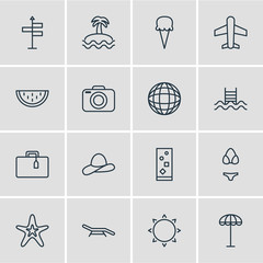 Vector Illustration Of 16 Season Icons. Editable Pack Of Longue, Swimming, Cocktail And Other Elements.
