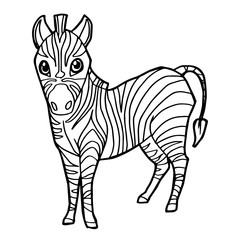 cartoon cute zebra coloring page vector illustration