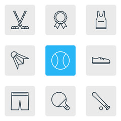 Vector Illustration Of 9 Fitness Icons. Editable Pack Of Tennis, Uniform, Gumshoes And Other Elements.