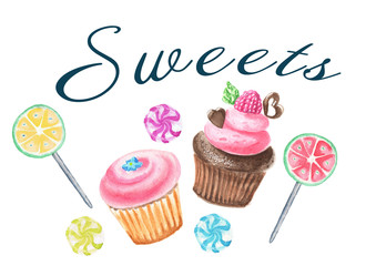 Watercolour hand-painted clip art with sweets and cupcakes